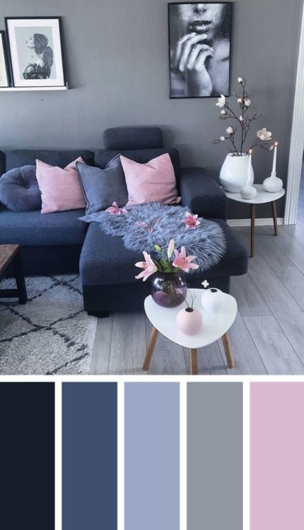 Dark Blue Pink Living Room Color Scheme Ideas