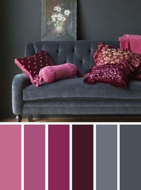 Dark Grey Pink Living Room Color Scheme Ideas
