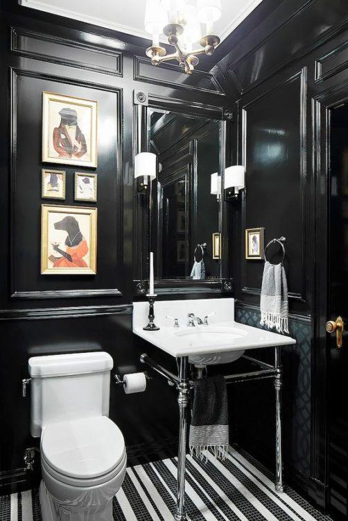 Dark Tiny House Bathroom