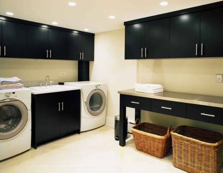 Duo Tone Basement Laundry Room