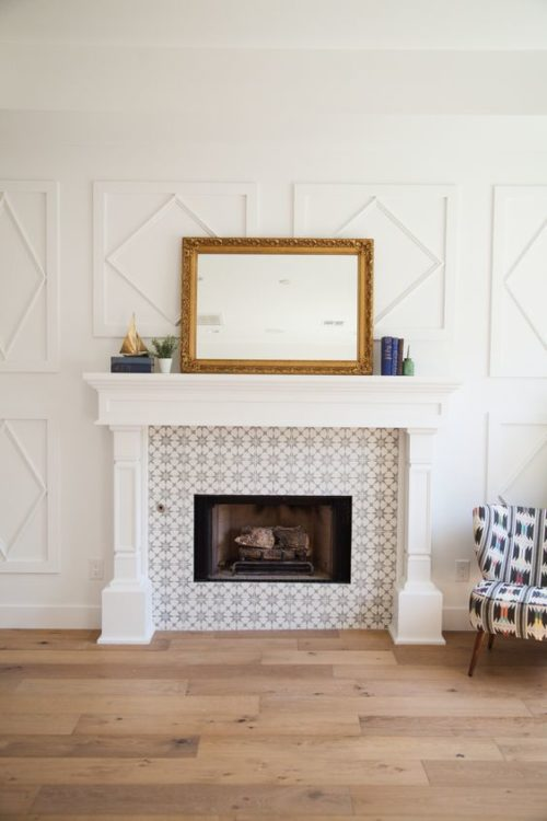 Fade Out Pattern Fireplace Tile Ideas
