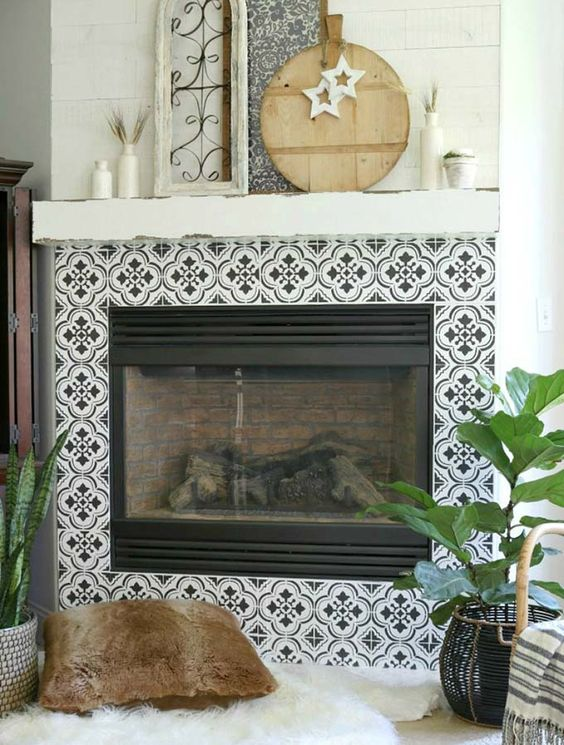 Four Clover Fireplace Tile Ideas