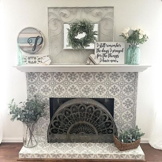Full Pattern Fireplace Tile Ideas