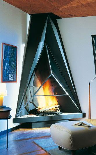 Futuristic Corner Fireplace