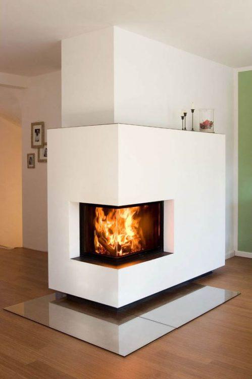 Geometric Corner Fireplace
