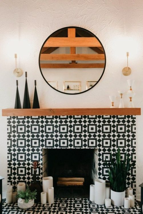 Geometric Pattern Fireplace Tile Ideas