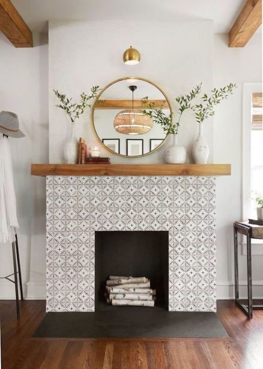Grey Pattern Fireplace Tile Ideas
