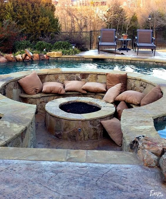 In-Pool Stone Patio Ideas