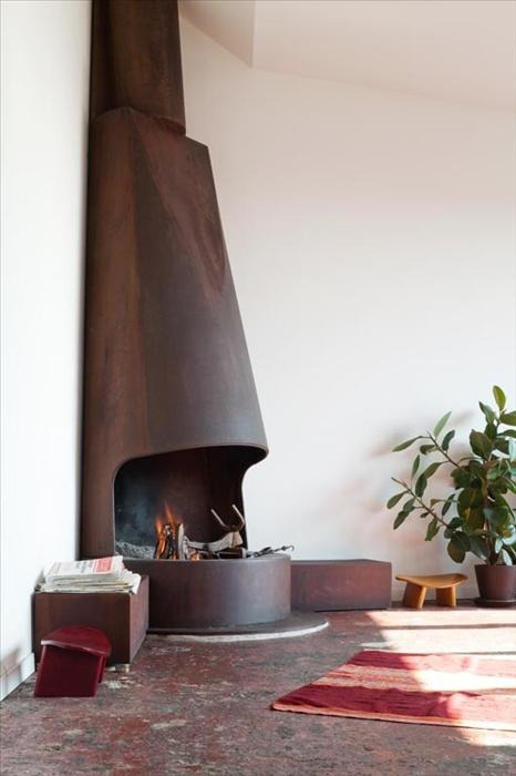 Industrial Corner Fireplace