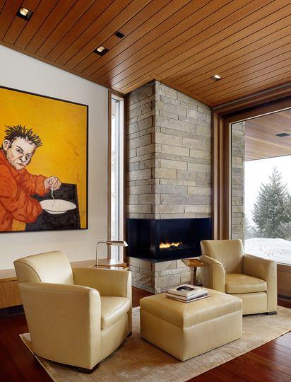 Long Brick Corner Fireplace
