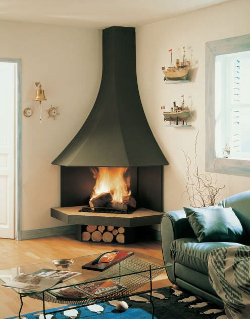 Mid Century Modern Corner Fireplace
