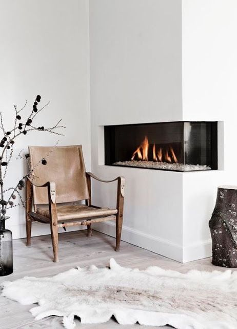 Middle High Corner Fireplace