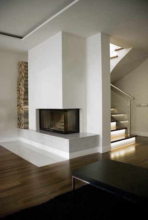 Minimalist Apartment Corner Fireplace