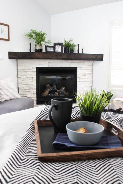 Minimalist Elegant Corner Fireplace