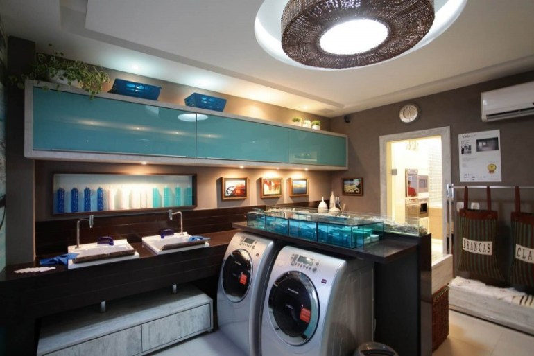 Modern Basement Laundry Room