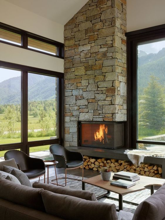 Modern Mix Corner Fireplace