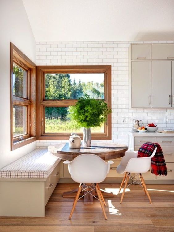 Natural Light Corner Breakfast Nook Ideas