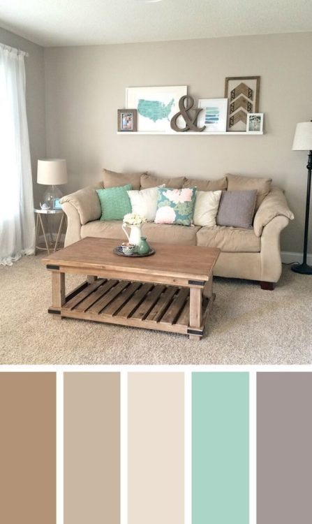 Natural Pastel Color Living Room Color Scheme Ideas
