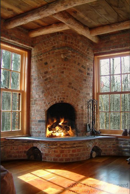 Old Brick Corner Fireplace