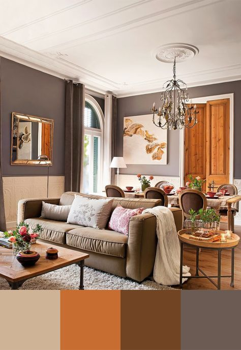Orange Brown Living Room Color Scheme Ideas