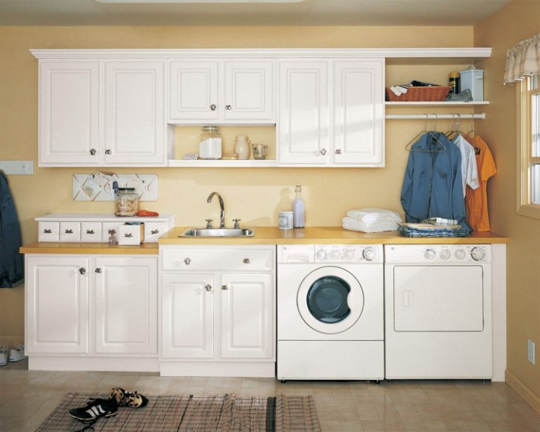 Pastel Color Basement Laundry Room