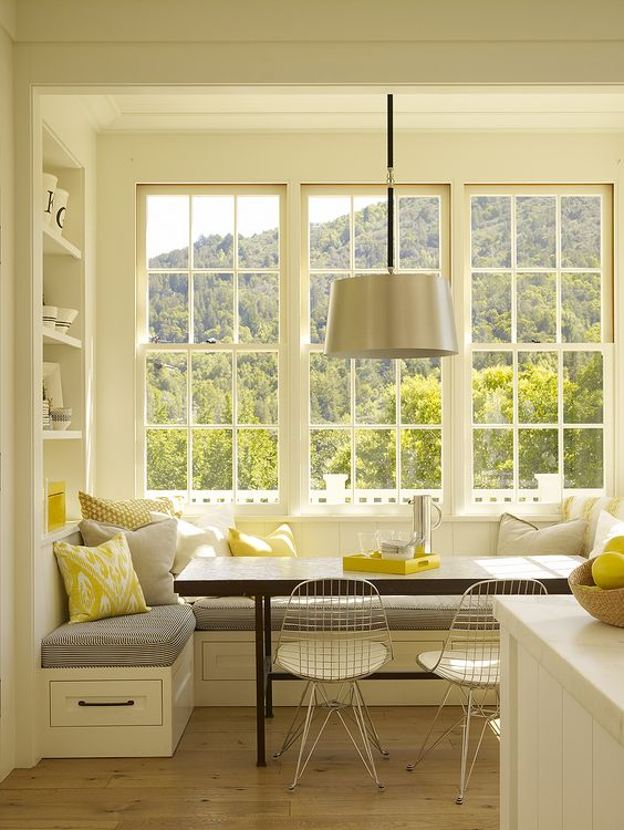 Pastel Green Corner Breakfast Nook Ideas