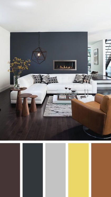 Pastel Grey Brown Living Room Color Scheme Ideas