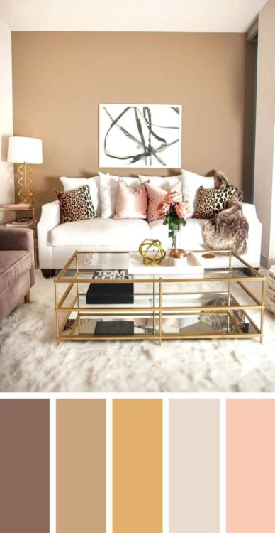 Pastel Pink Soft Brown Living Room Color Scheme Ideas