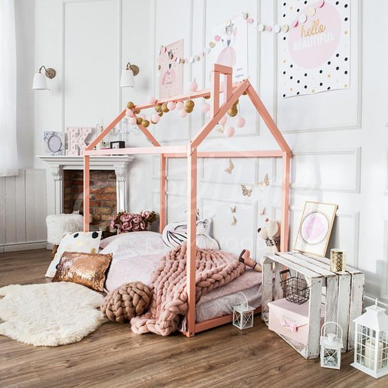Pink Canopy Girls Room Decor