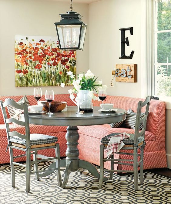 Pink Grey Corner Breakfast Nook Ideas