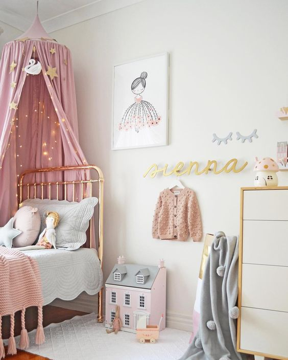 Pink Industrial Girls Room Decor