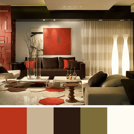 Red Brown Living Room Color Scheme Ideas