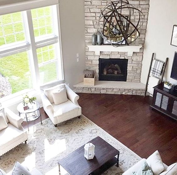30+ Awesome Corner Fireplace Ideas for Your Living Room ...