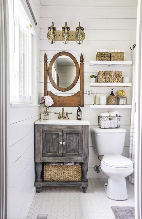 Rustic Tiny House Bathroom