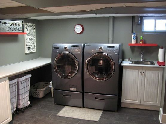 Simple Basement Laundry Room