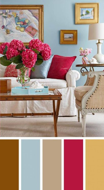Sky Blue Red Living Room Color Scheme Ideas