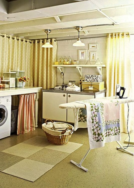 Small Minimalist Basement Laundry Room