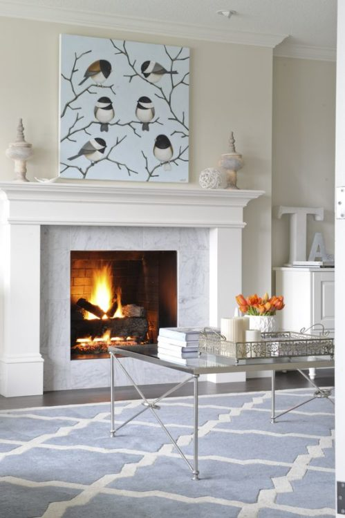 Soft Blue Fireplace Tile Ideas