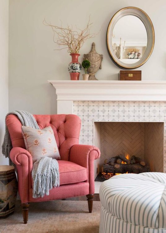 Soft Color Fireplace Tile Ideas