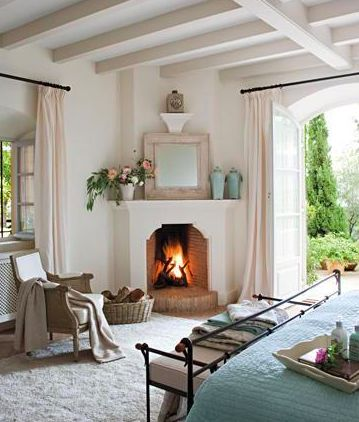 Soft Pink Corner Fireplace