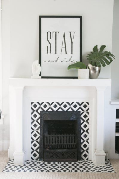 Square Pattern Fireplace Tile Ideas