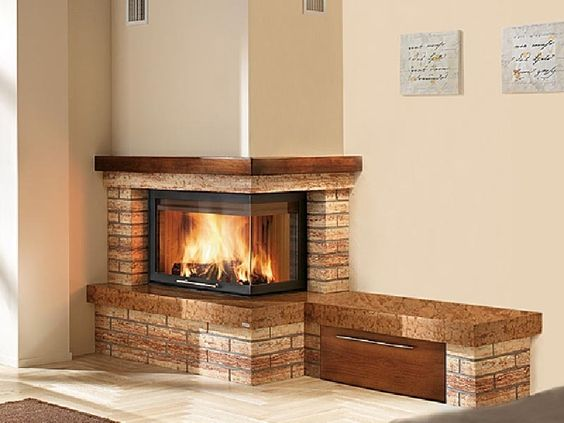 Stone Nook Beside Corner Fireplace