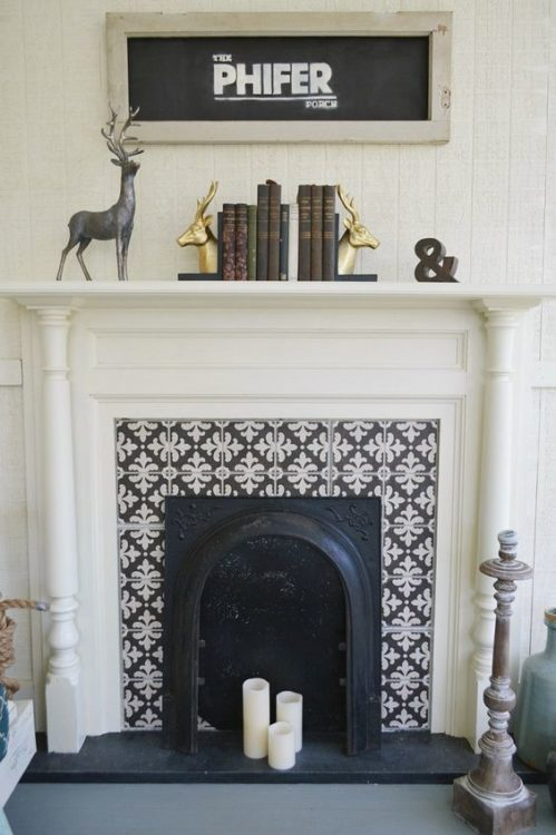 Super Minimalist Pattern Fireplace Tile Ideas