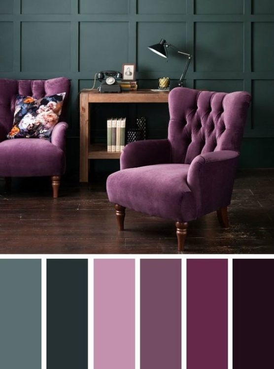 Super Violet Living Room Color Scheme Ideas