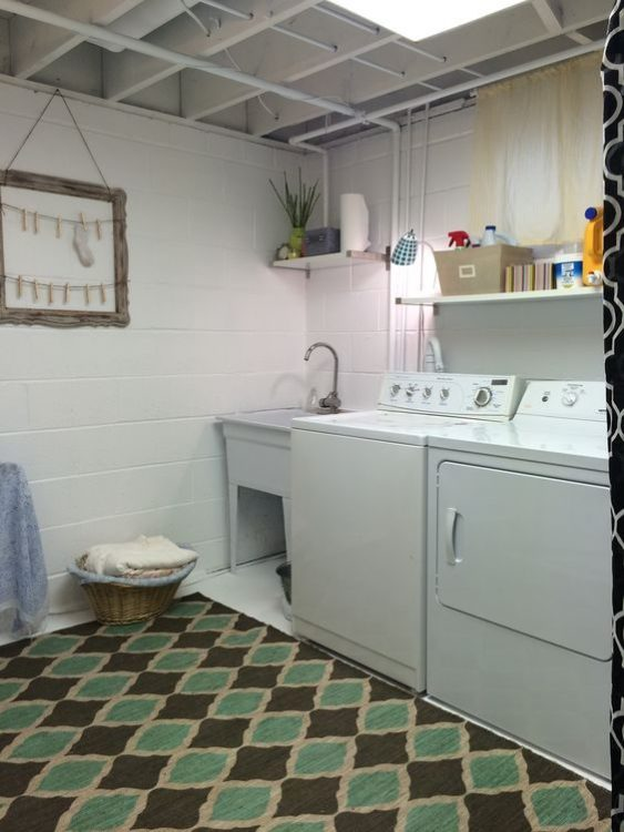 Tiny Basement Laundry Room