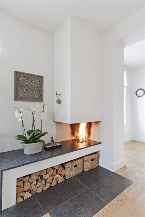 Tiny Corner Fireplace