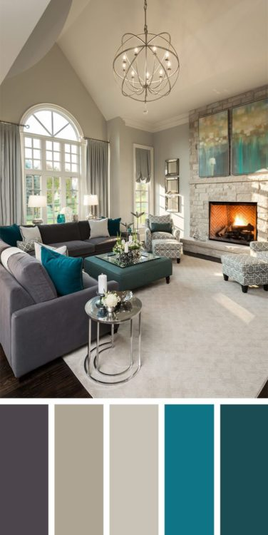 Turquoise Grey Living Room Color Scheme Ideas