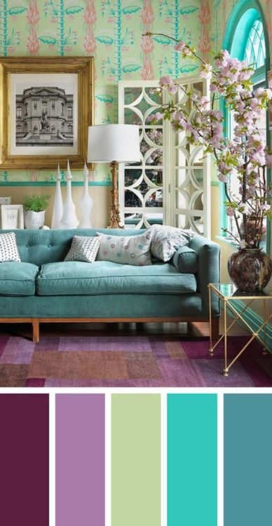 Violet Turquoise Living Room Color Scheme Ideas