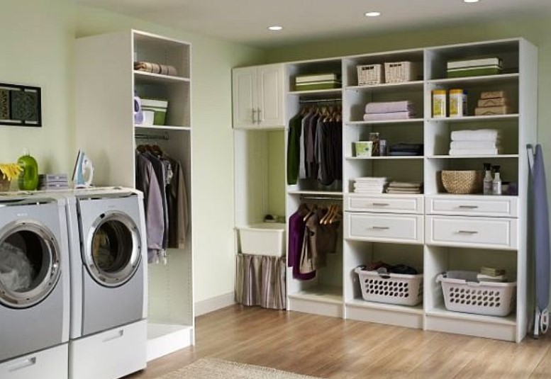 Well Organized Basement Laundry Room