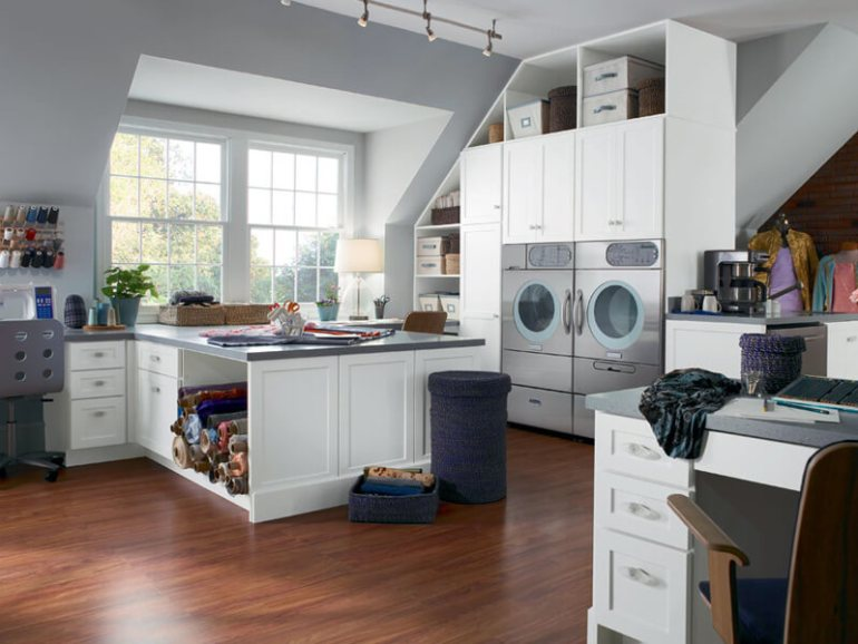 White Basement Laundry Room